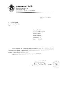 Patrocinio Tempo libero per l'inclusione sociale Comune di Salò 18.3.2016
