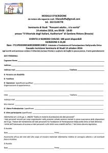 SCHEDA ADESIONE Seminario di Studi Fondazione di Partecipazione StefyLandia Onlus 14.10.2016
