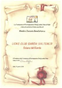 2 pergamena LIONS CLUB GARDA VALTENESI