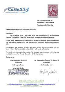 lettera ringraziamento per patrocinio StefyLandia