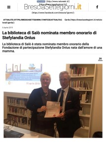 La biblioteca di Salò nominata membro onorario di Stefylandia Onlus - Brescia Settegiorni