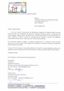 lettera ringraziamento Fondazione di Partecip azione StefyLandia Onlus Salò 30.07.2020